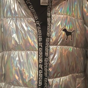 Victoria Secrets/Pink Silver Metalic Puffer Jacket